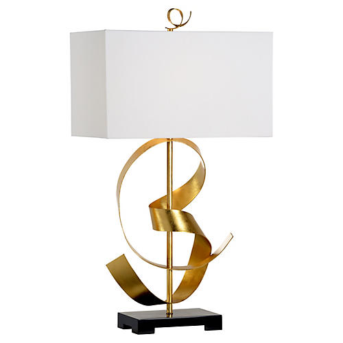 Ribbon Twirl Table Lamp, Gold/Black