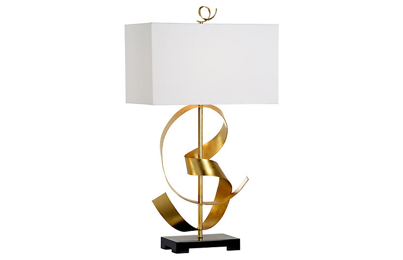 Ribbon Twirl Table Lamp, Gold/Black
