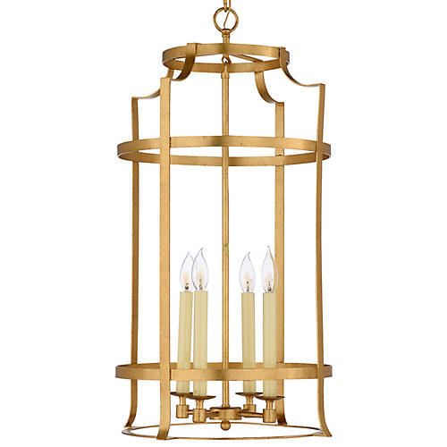 Romney 4-Light Lantern, Antiqued Gold