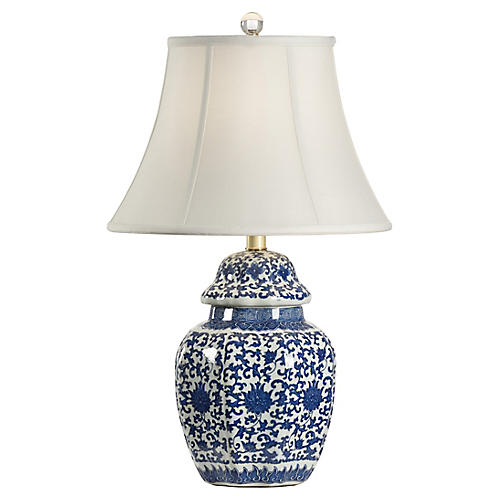 Tower Vase Table Lamp, Blue/White