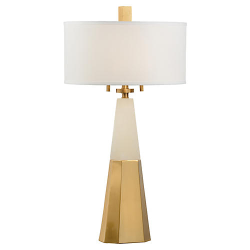 Winfield Alabaster Table Lamp, Coffee Bronze/White