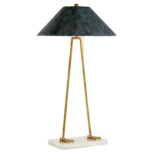 Aviary Two-Legged Table Lamp, Gold/White
