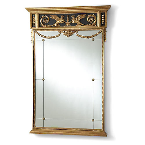 Griffon Oversize Wall Mirror, Gold Leaf/Black