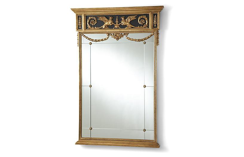 Griffon Oversize Wall Mirror, Gold Leaf/Black