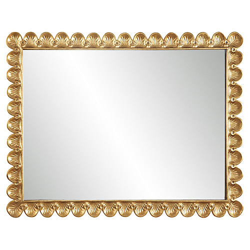 Scalloped Oversize Wall Mirror, Gold Leaf