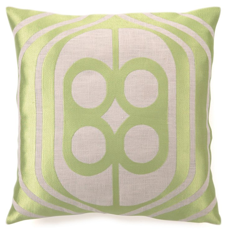 Birdcage 20x20 Linen Pillow, Green