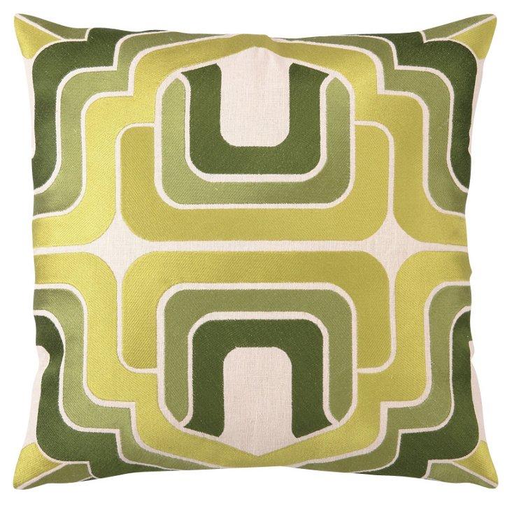 Ogee 20x20 Linen Pillow, Green