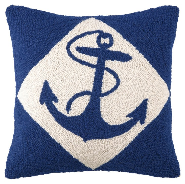 Anchor 16x16 Wool Pillow, Navy