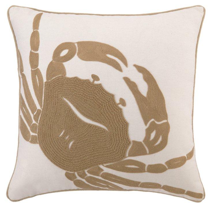 Crab 18x18 Pillow, Beige