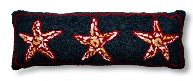 Starfish 9x26 Wool Pillow, Navy
