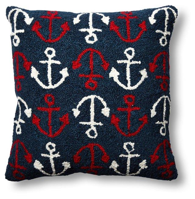 Anchors 18x18 Wool Pillow, Navy
