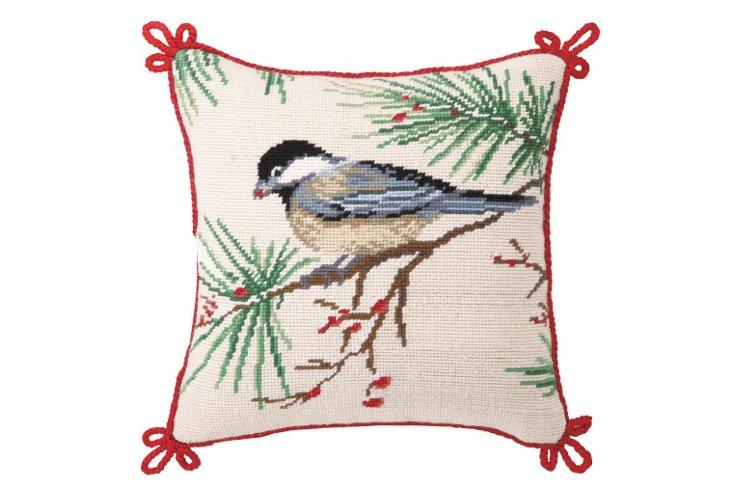 Winter Chickadee 12x12 Pillow, Multi