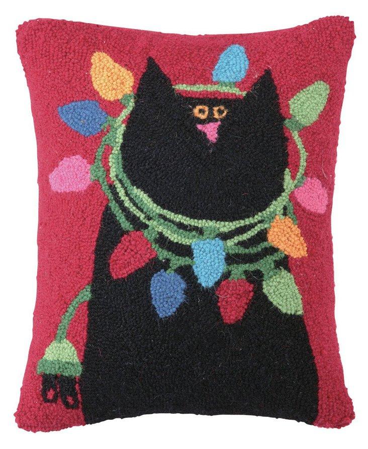 Black Cat w/ Lights 14x18 Pillow, Multi