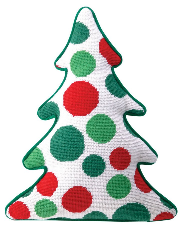 Tree Dots 12x15 Pillow, Red/Green