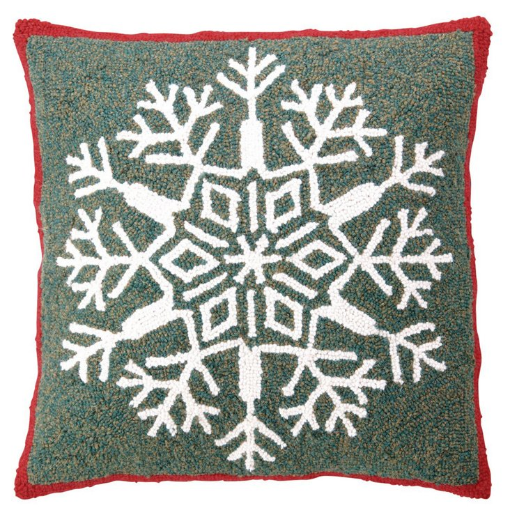 Snowflake 18x18 Pillow, Green