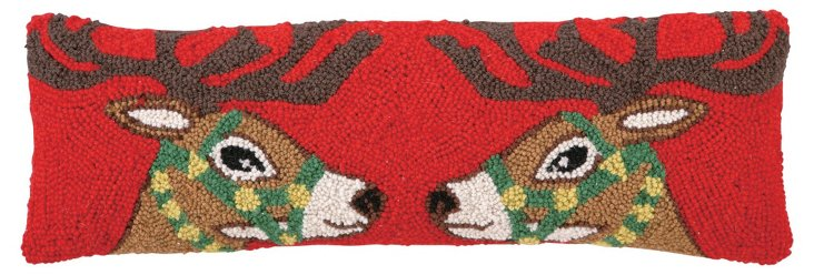 Facing Reindeers 8x24 Pillow, Multi