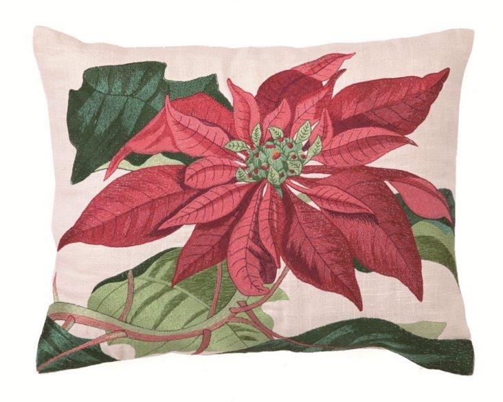 Holiday Poinsettia 12x16 Pillow, Multi