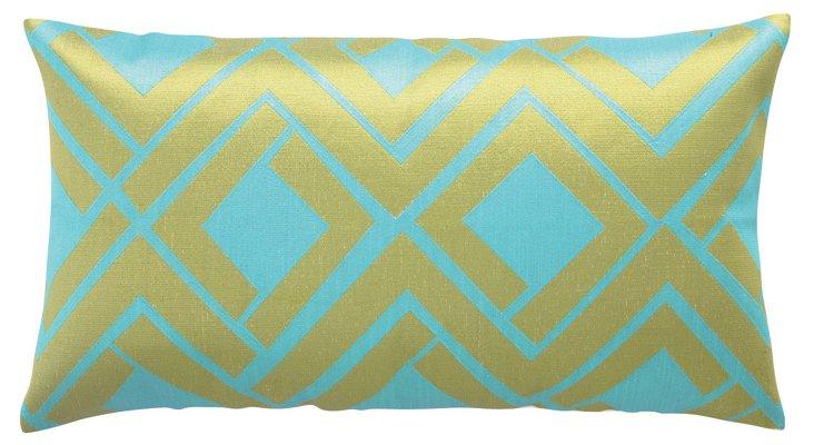 Avenida Maze 14x26 Linen Pillow, Lime