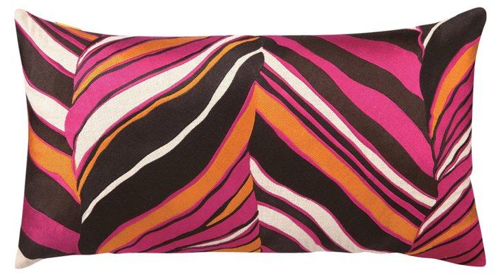 Tiger Leaf 14x26 Linen  Pillow, Pink