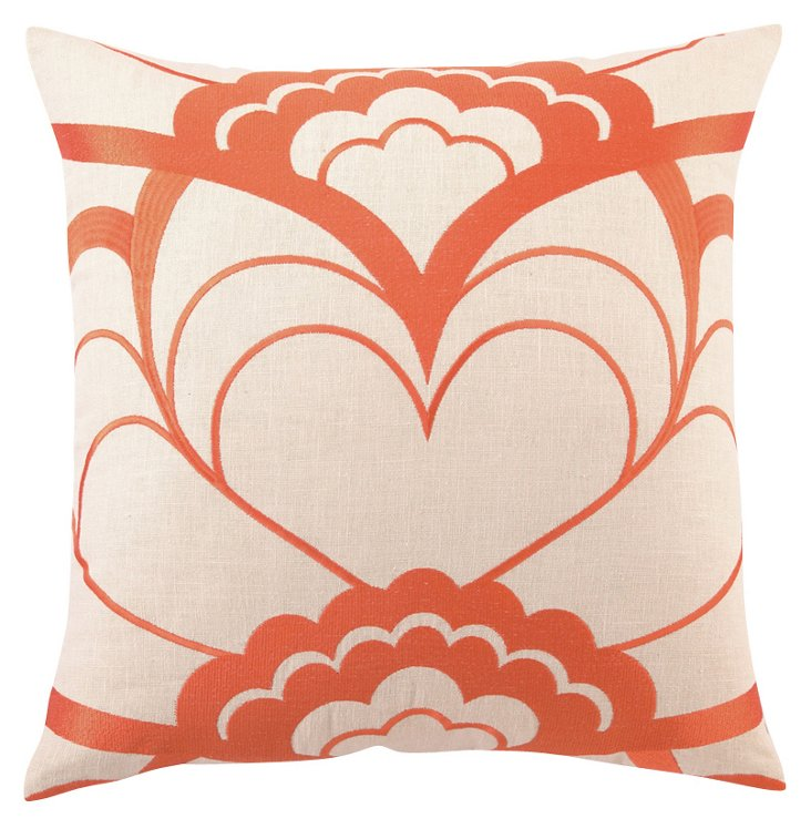 Deco 20x20 Embroidered Pillow, Orange