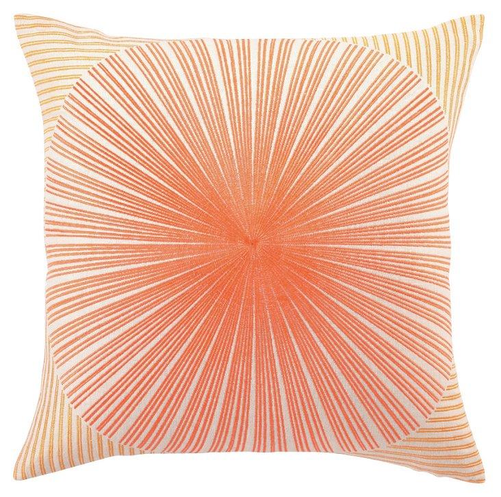 Sunburst 20x20 Linen Pillow, Orange/Red
