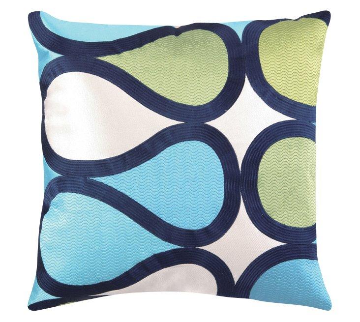 Burmese Vine 20x20 Linen Pillow, Blue