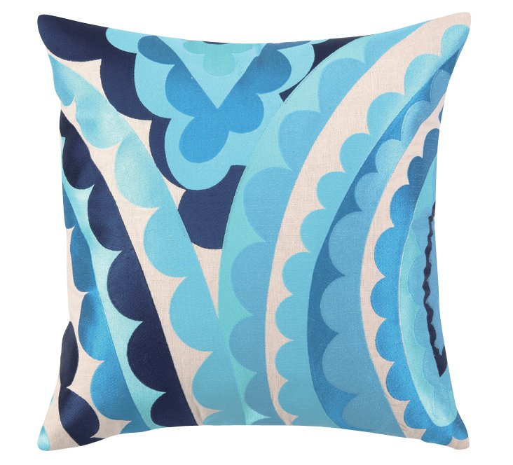 Vivacious 20x20 Linen Pillow, Blue