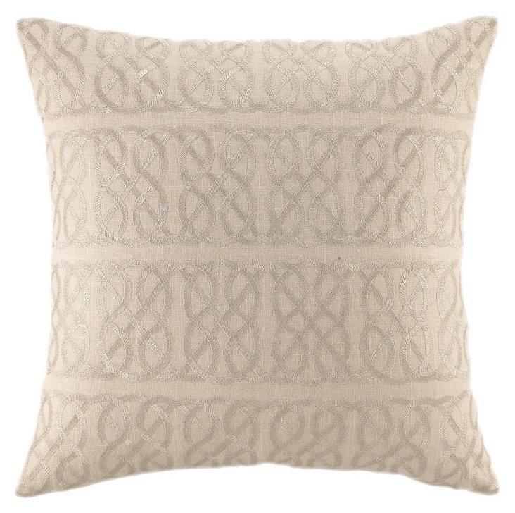 Nautical Knot 20x20 Linen Pillow, Silver