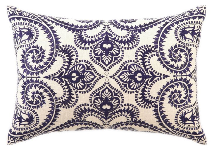 Amalfi 14x20 Embroidered  Pillow, Navy
