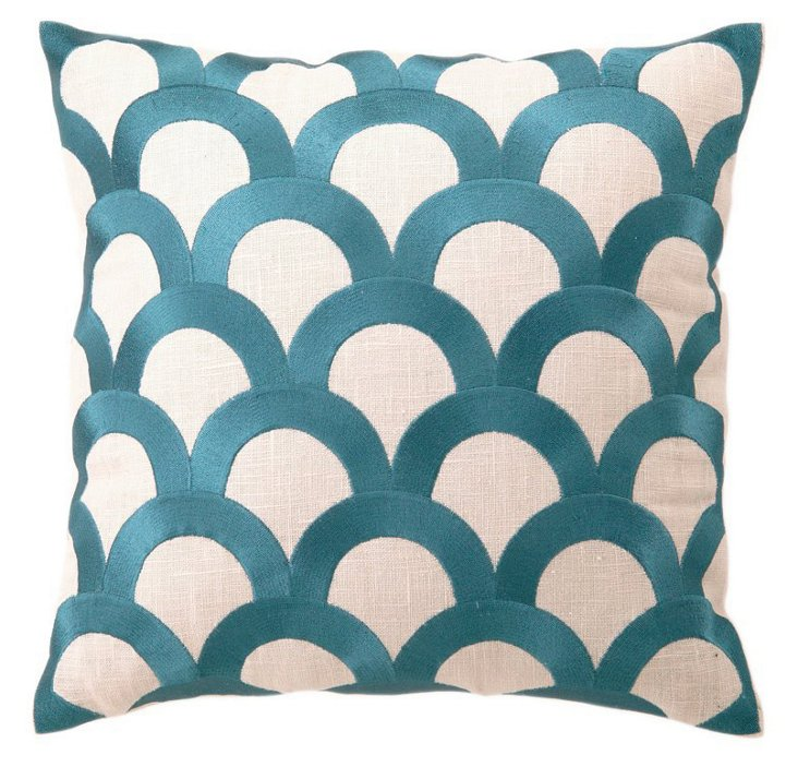 Scales 16x16 Linen Pillow, Teal