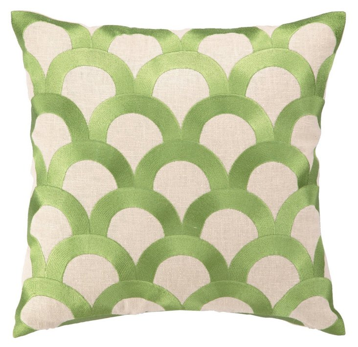 Scales 16x16 Embroidered Pillow, Green