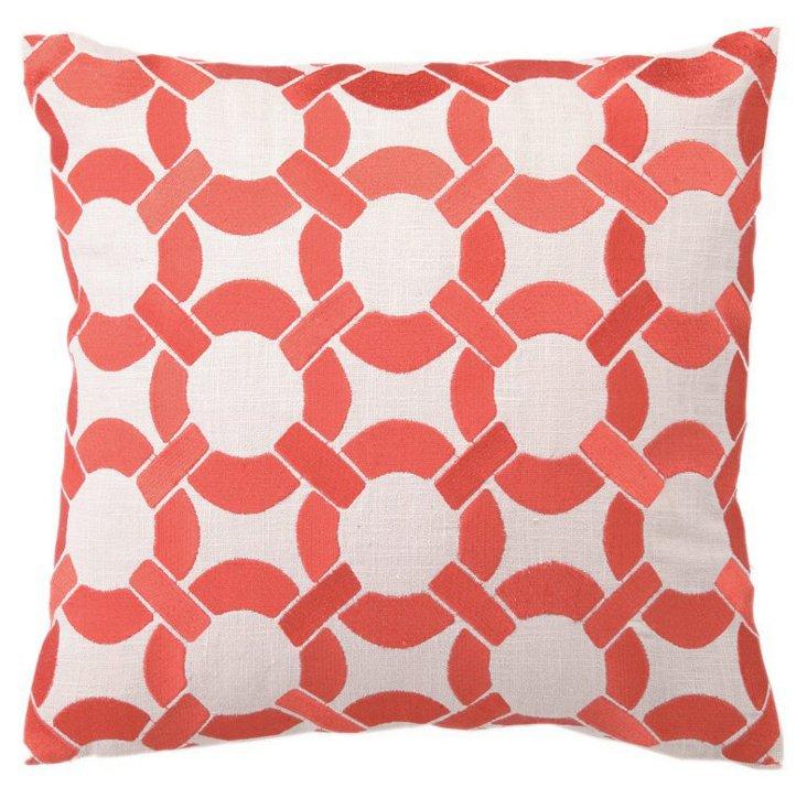 Mod Link 16x16 Linen Pillow, Mango