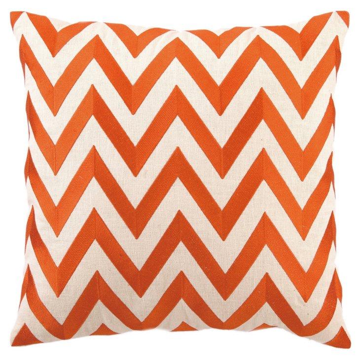 Zigzag 20x20 Linen Pillow, Orange
