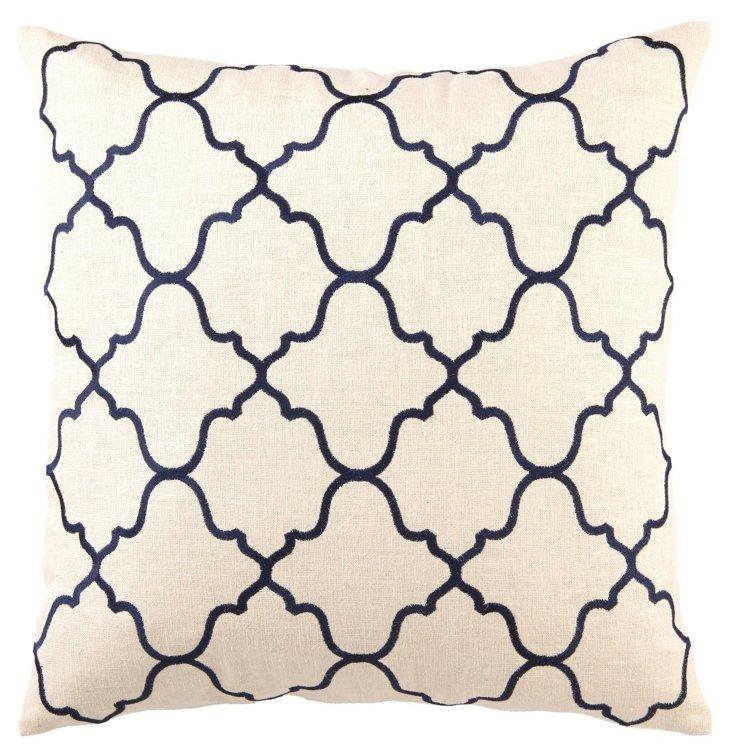 Moroccan 20x20 Linen Pillow, Navy