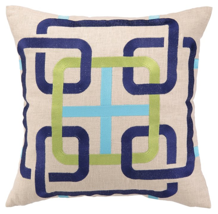 Mod 18x18 Embroidered Pillow, Blue