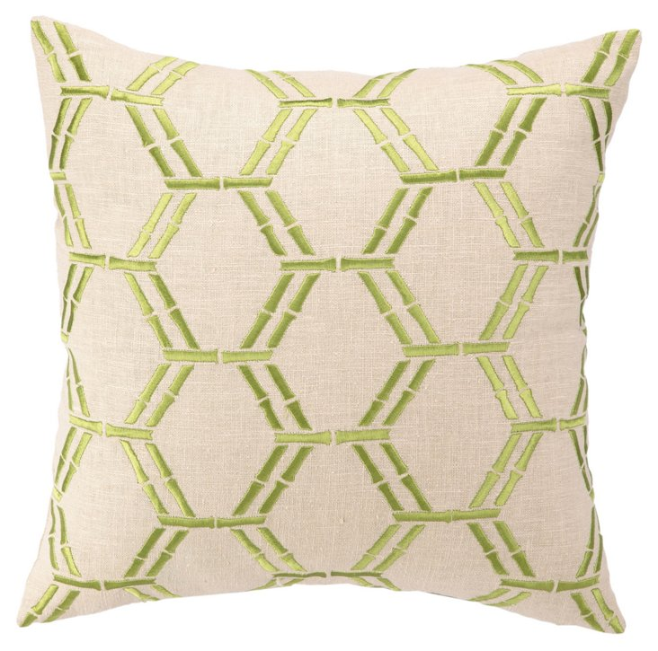 Bamboo 16x16 Cotton Pillow, Green