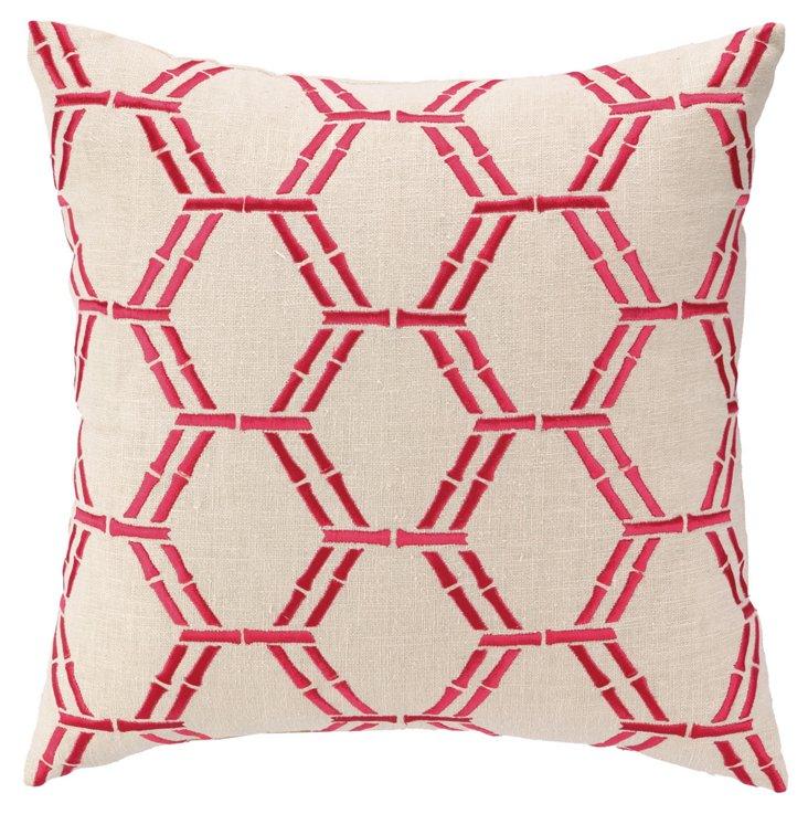 Bamboo 16x16 Cotton Pillow, Pink