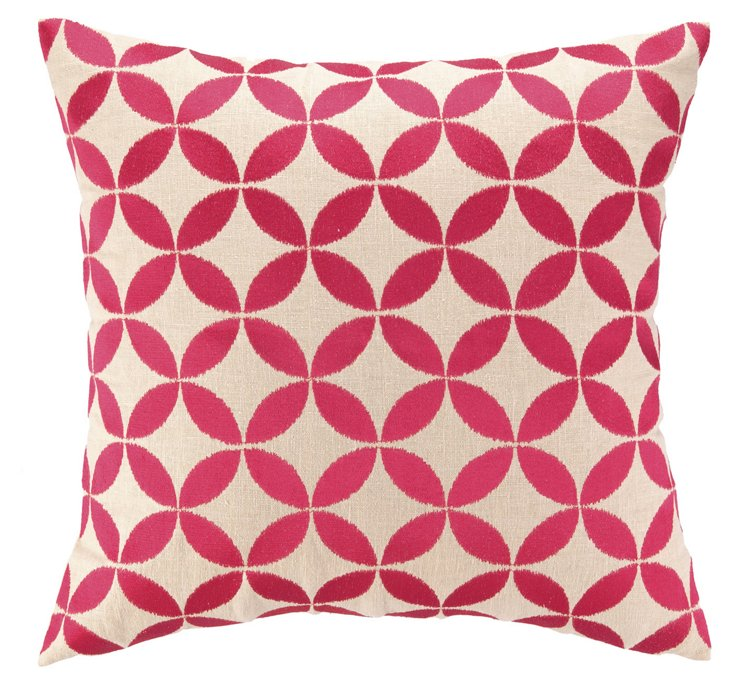 Circle 20x20 Cotton Pillow, Pink