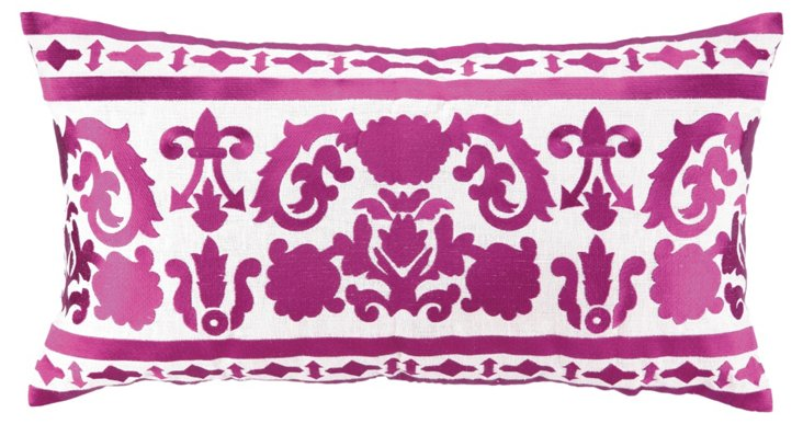Lily 14x26 Embroidered Pillow, Fuchsia