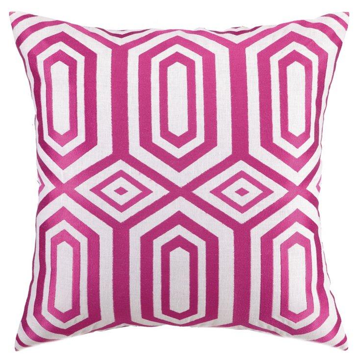 Soho 20x20 Embroidered Pillow, Fuchsia