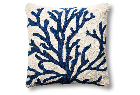 Sea Reef 16x16 Wool Pillow, Navy