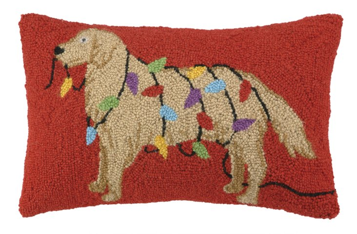 Retriever with Lights 12x20 Pillow, Red
