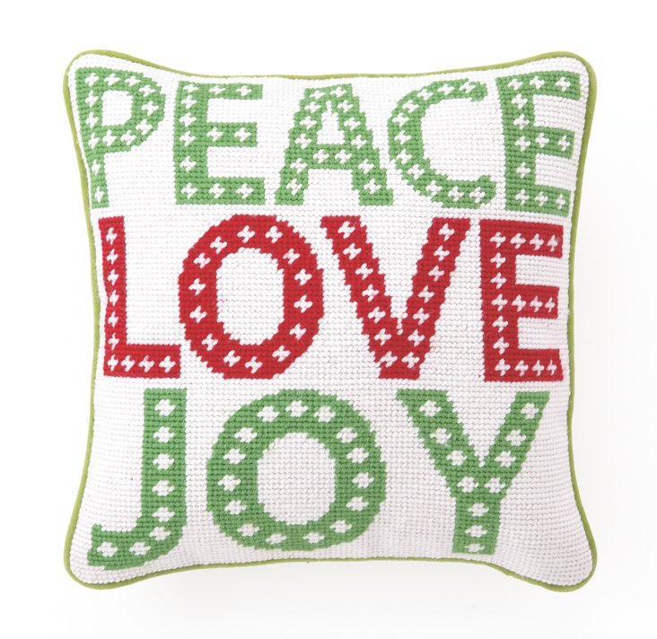 Peace, Love, Joy 10x10 Pillow, White