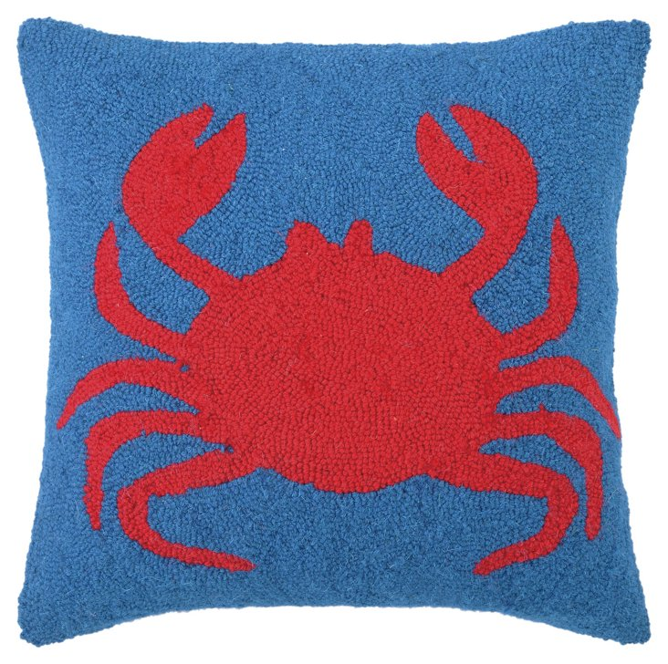 Crab 18x18 Wool Pillow, Red