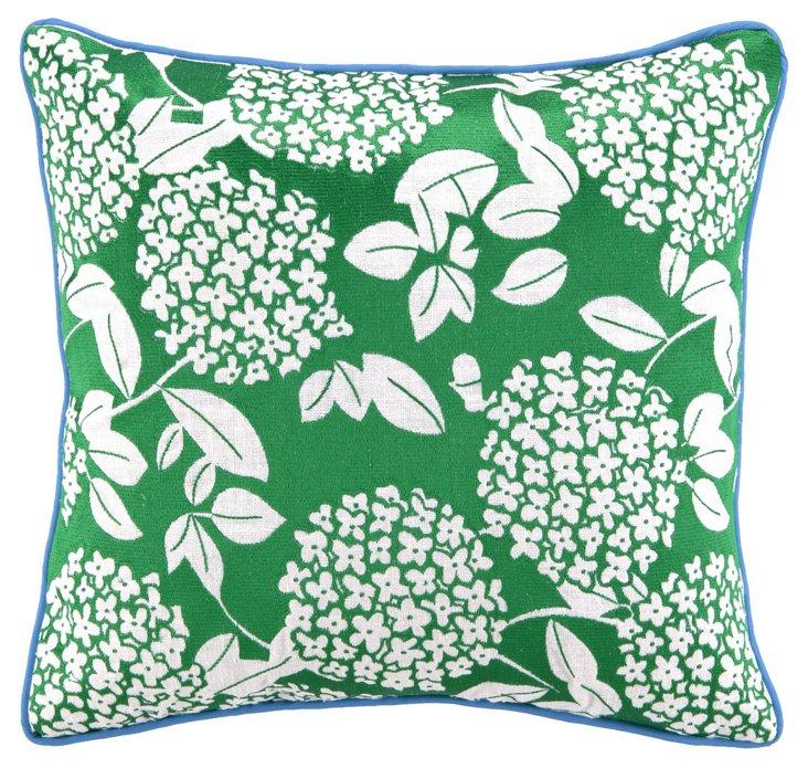 Cipriana 16x16 Linen Pillow, Green