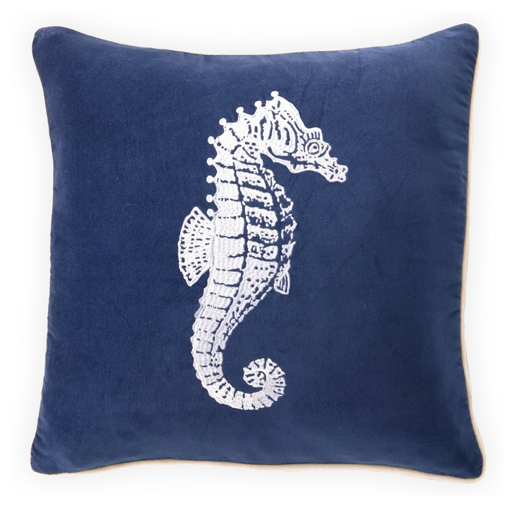 Seahorse 18x18 Embroidered Pillow, Blue
