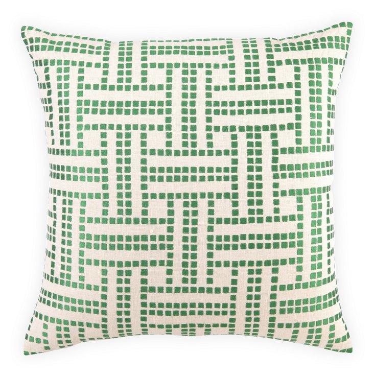Basket-Weave 20x20 Linen Pillow, Green