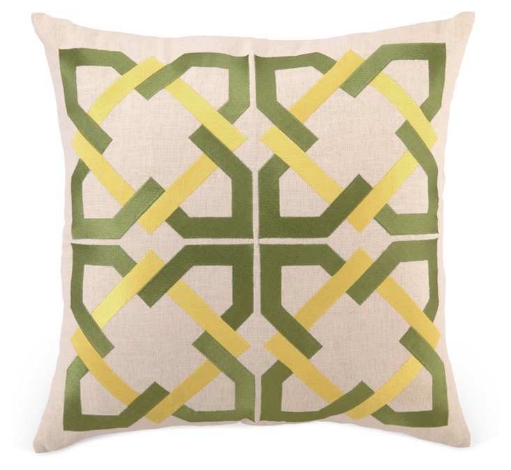 Tile 20x20 Embroidered Pillow, Green
