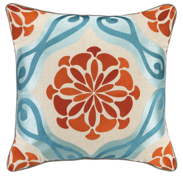 Kamil 18x18 Embroidered Pillow, Orange