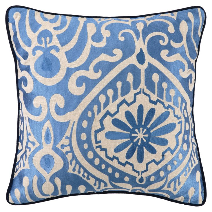 Taylor 18x18 Embroidered Pillow, Blue